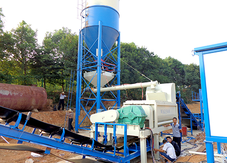 Hunan 500 tons stabilized soil mixing plant site case